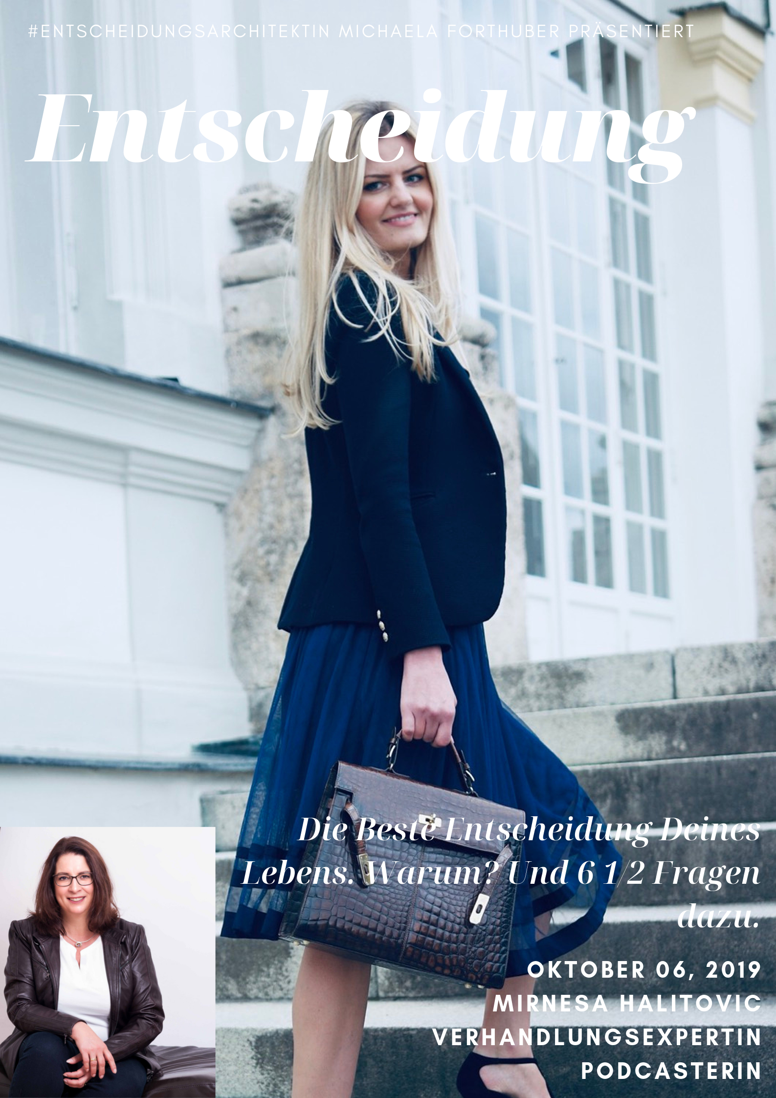 Blog Interview Entscheiden Cover mit Mirnesa Halitovic Michaela Forthuber #Entscheidungsarchitektin